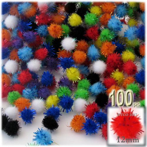 Pom Pom, 12mm, 100-pc, Multi Mix