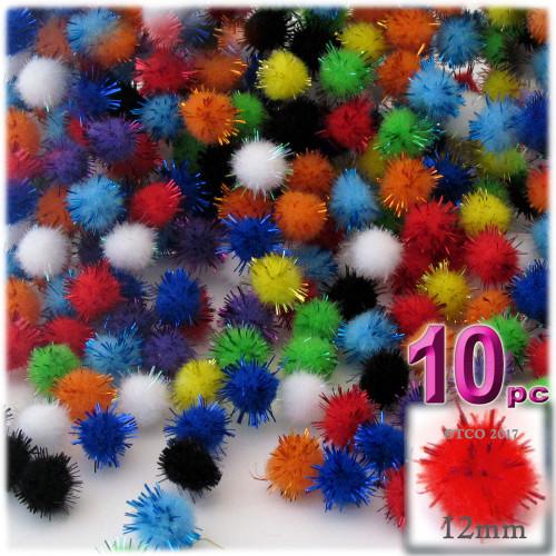 Pom Pom, 12mm, 10-pc, Multi Mix