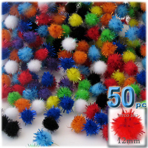 Pom Pom, 12mm, 50-pc, Multi Mix