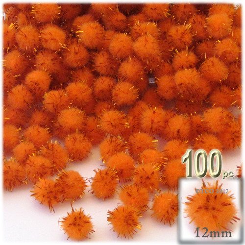 Pom Pom, 12mm, 100-pc, Orange