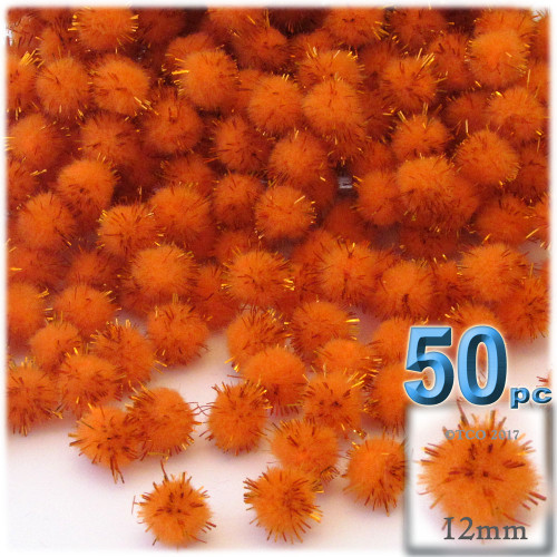 Pom Pom, 12mm, 50-pc, Orange