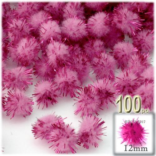 Pom Pom, 12mm, 100-pc, Pink