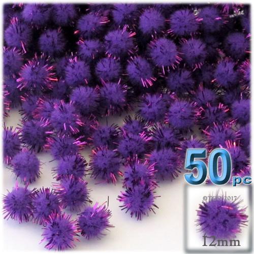 Pom Pom, 12mm, 50-pc, Purple