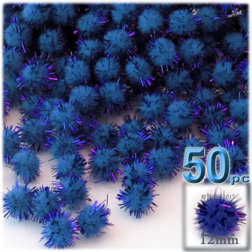Pom Pom, 12mm, 50-pc, Royal Blue