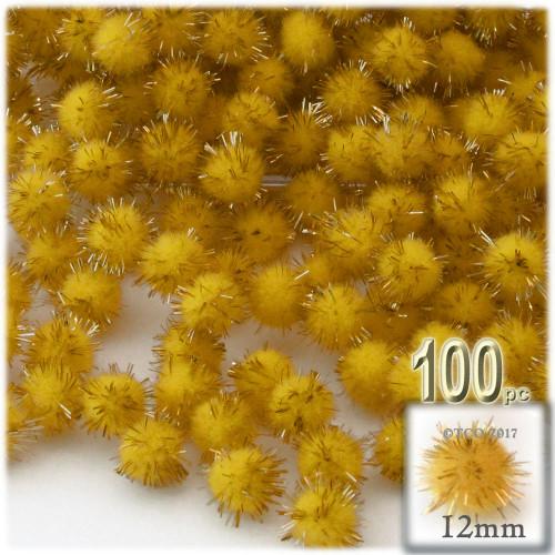Pom Pom, 12mm, 100-pc, Yellow