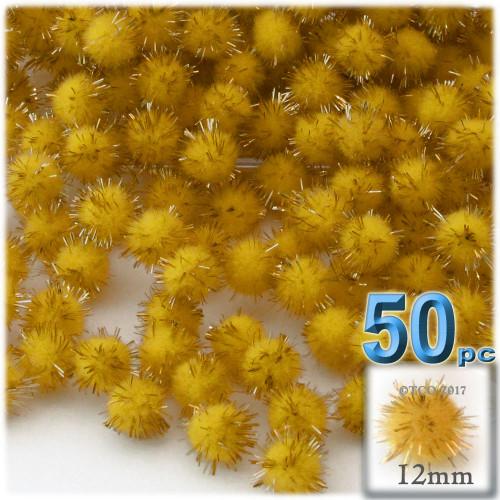 Pom Pom, 12mm, 50-pc, Yellow