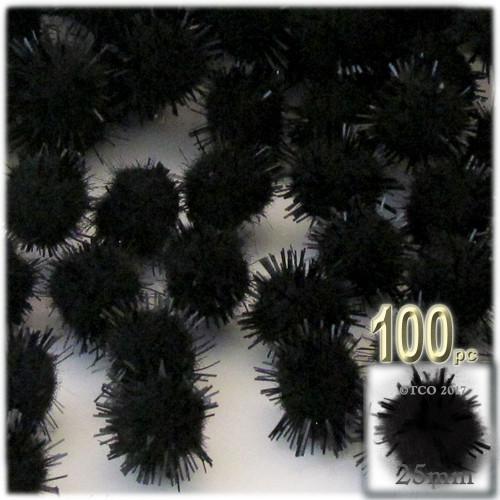 Pom Pom, 25mm-, 100-pc, Black