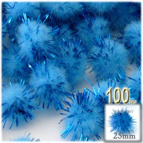 Pom Pom, 25mm-, 100-pc, Light Blue