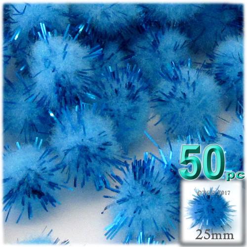 Pom Pom, 25mm-, 50-pc, Light Blue