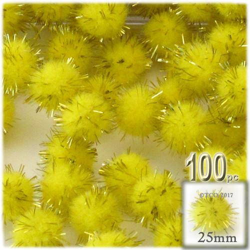 Pom Pom, 25mm-, 100-pc, Light Yellow