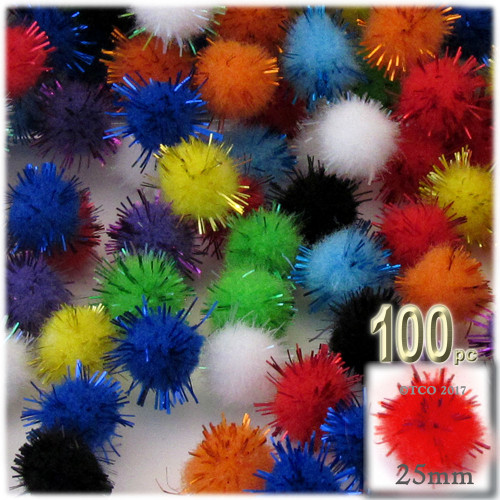 Pom Pom, 25mm-, 100-pc, Multi Mix