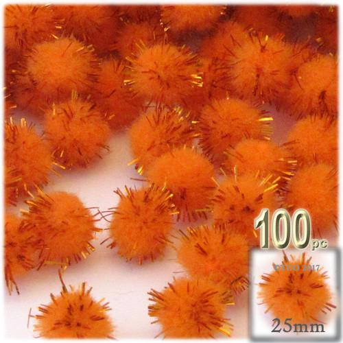 Pom Pom, 25mm-, 100-pc, Orange