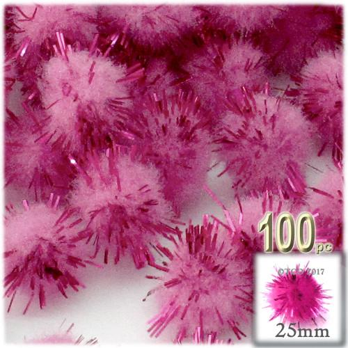 Pom Pom, 25mm-, 100-pc, Pink