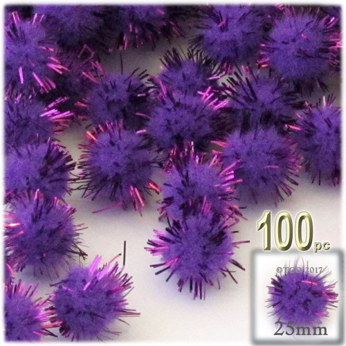 Pom Pom, 25mm-, 100-pc, Purple