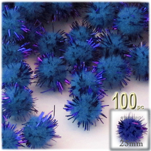 Pom Pom, 25mm-, 100-pc, Royal Blue