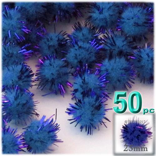 Pom Pom, 25mm-, 50-pc, Royal Blue