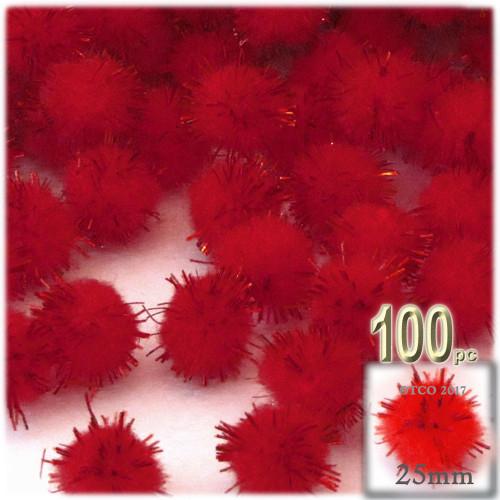 Pom Pom, 25mm-, 100-pc, Red