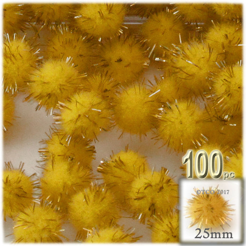 Pom Pom, 25mm-, 100-pc, Yellow