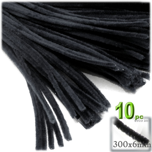 Stems, Polyester, 12-in, 10-pc, Black