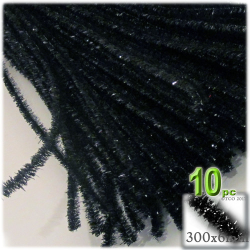 Stems, Sparkly, 12-in, 10-pc, Black