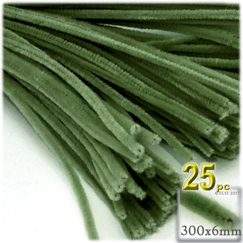 Stems, Polyester, 12-in, 25-pc, Olive Green