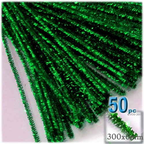 Stems, Sparkly, 12-in, 50-pc, Emerald Green