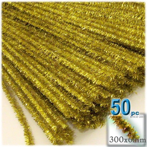 Stems, Sparkly, 12-in, 50-pc, Light Gold