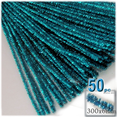 Stems, Sparkly, 12-in, 50-pc, Ocean Blue