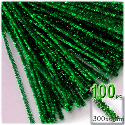 Stems, Sparkly, 12-in, 100-pc, Emerald Green
