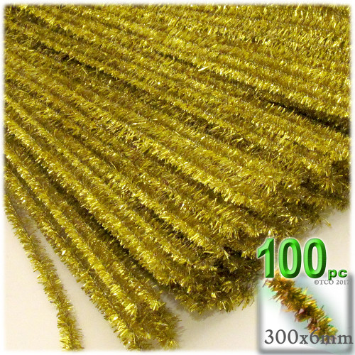 Stems, Sparkly, 12-in, 100-pc, Light Gold