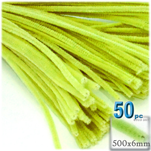 Stems, Polyester, 20-in, 50-pc, Neon Yellow