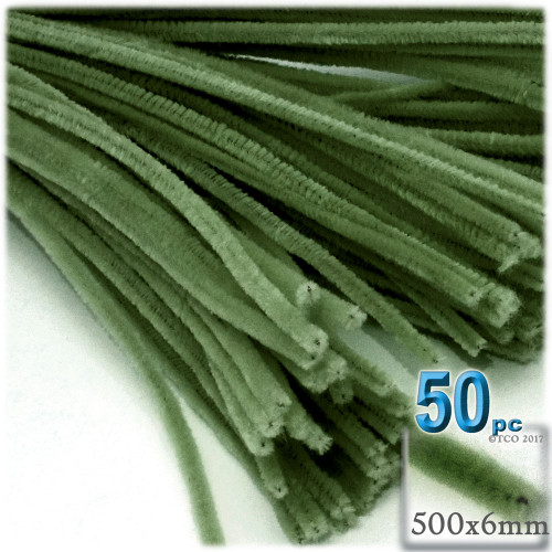 Stems, Polyester, 20-in, 50-pc, Olive Green