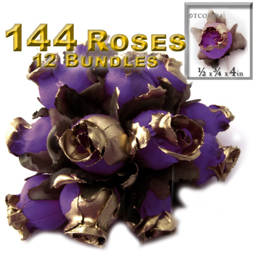 Artificial flowers, Gold Dipped Tips, Tulips, 0.5-inch, 144-pc Purple with gold tips