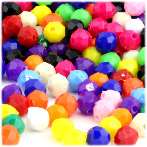 Plastic Faceted Beads, Opaque, 10mm, 50-pc, Multi Mix (Mix of all available colors)