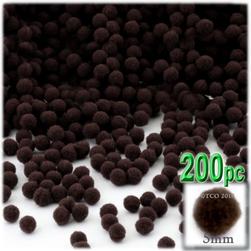 Acrylic Pom Pom, 5mm, 100-pc, Dark Brown