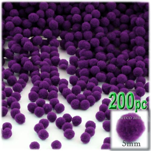 Acrylic Pom Pom, 5mm, 100-pc, Purple