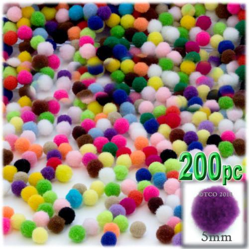 Acrylic Pom Pom, 5mm, 100-pc, Multi Mix