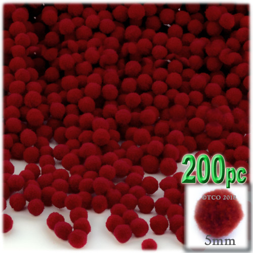 Acrylic Pom Pom, 5mm, 100-pc, Dark Red
