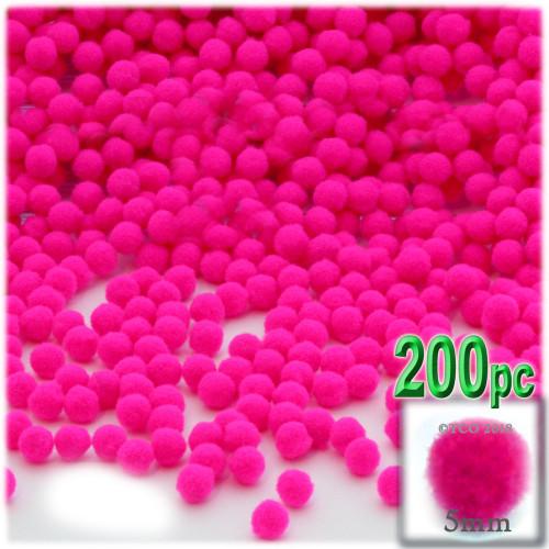 Acrylic Pom Pom, 5mm, 100-pc, Neon Pink