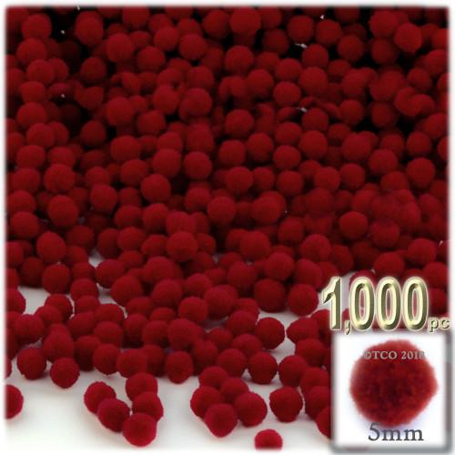 Acrylic Pom Pom, 5mm, 1,000-pc, Dark Red