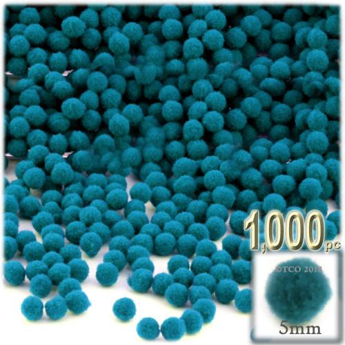 Acrylic Pom Pom, 5mm, 1,000-pc, Turquoise Blue