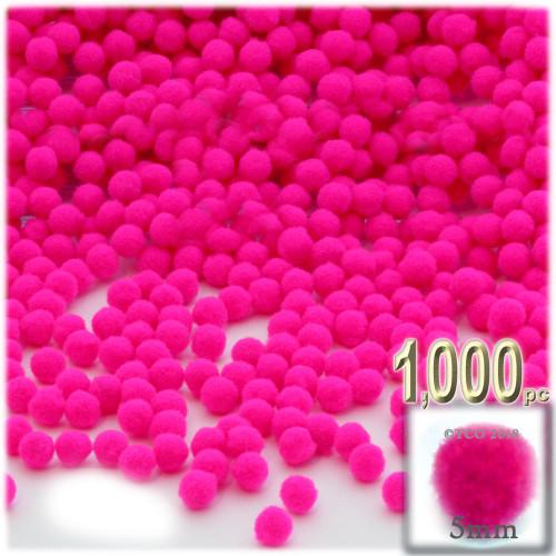 Acrylic Pom Pom, 5mm, 1,000-pc, Neon Pink