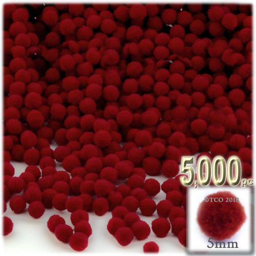 Acrylic Pom Pom, 5mm, 5,000-pc, Dark Red