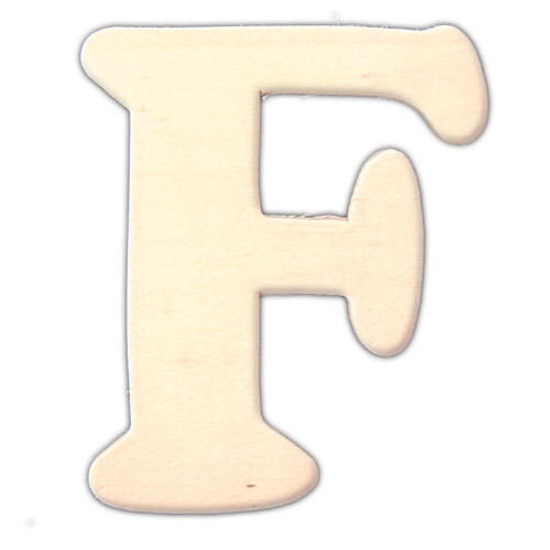 Unfinished Wood, 3-in, 4mm Thick, Letter, Letter F