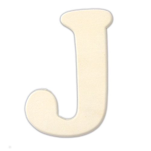 Unfinished Wood, 3-in, 4mm Thick, Letter, Letter J