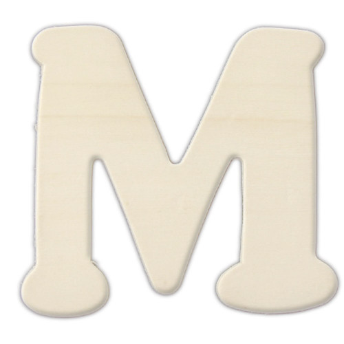 Unfinished Wood, 3-in, 4mm Thick, Letter, Letter M