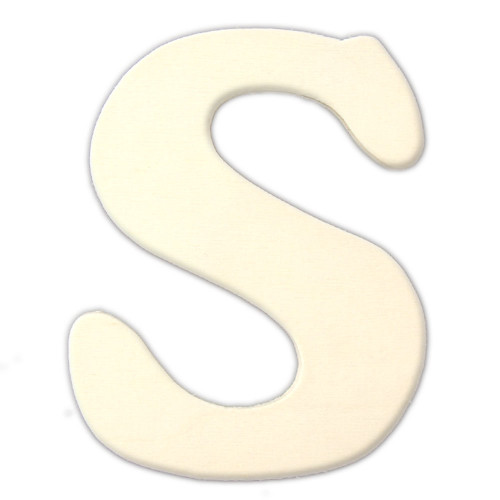Unfinished Wood, 3-in, 4mm Thick, Letter, Letter S