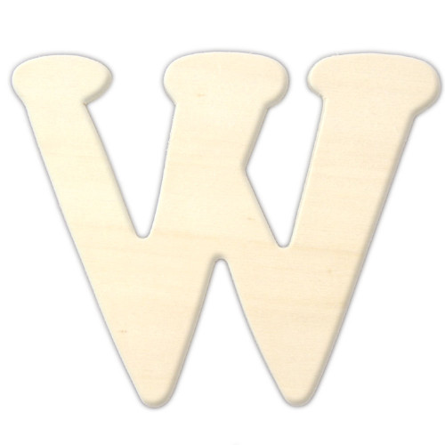 Unfinished Wood, 3-in, 4mm Thick, Letter, Letter W