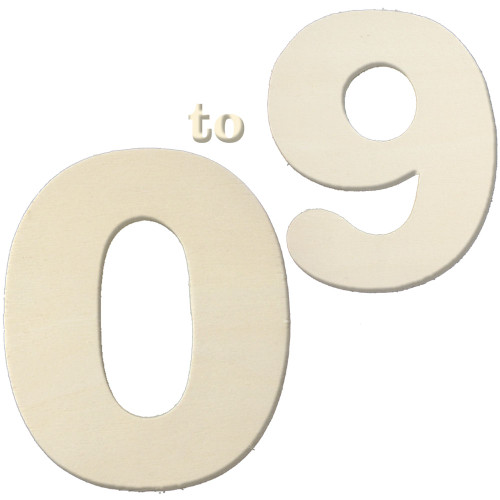 Unfinished Wood, 3-in, 4mm Thick, Number, A set of 10 Numbers (0-9)