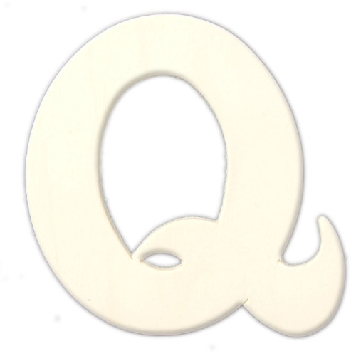 Unfinished Wood, 3-in, 4mm Thick, Letter, Letter Q